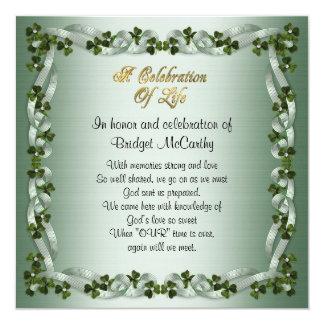 Celebration of life Invitation Irish Background