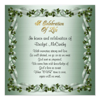 Celebration of life Invitation Irish Background