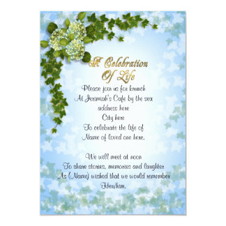 Celebration of life Invitation ivy and flowers