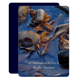 Celebration of Life Invitation, Leaves in Water Card