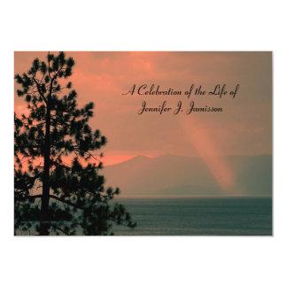 "Celebration of Life Invitation, Light Beam on Lake 5"" X 7"" Invitation Card"