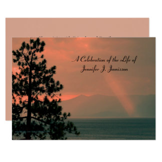 Celebration of Life Invitation, Light Beam on Lake Card