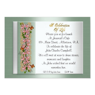Celebration of life Invitation lilies