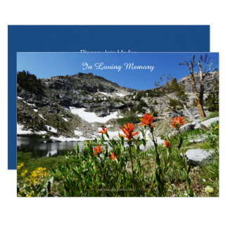 Celebration of Life Invitation, Mountains, Lake Card