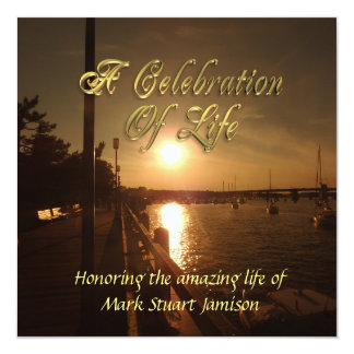 Celebration of life invitation Ocean Sunset