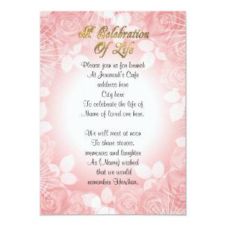 Celebration of life Invitation pink floral