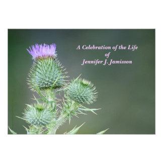 Celebration of Life Invitation Pink Wildflowers Custom Invites