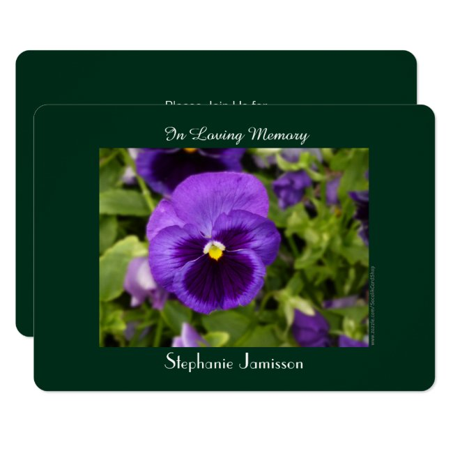 Celebration of Life Invitation Purple Pansy Floral