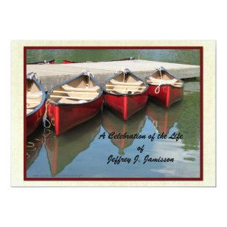 "Celebration of Life Invitation, Red Canoes 5"" X 7"" Invitation Card"