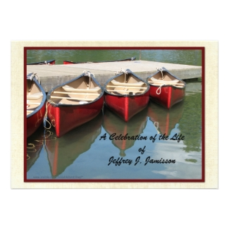 Celebration of Life Invitation, Red Canoes