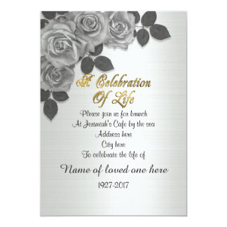 Celebration of life Invitation roses