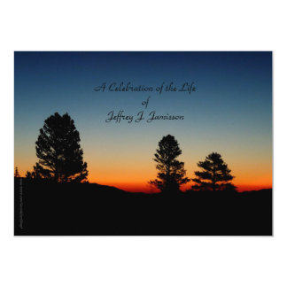"Celebration of Life Invitation, Sierra Sunrise 5"" X 7"" Invitation Card"