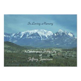 Celebration of Life Invitation, Snowy Mountains