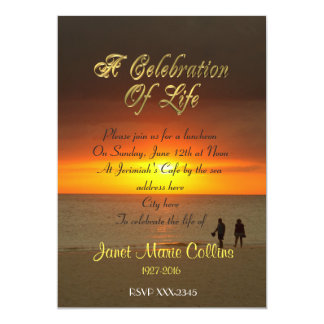 Celebration of life Invitation sunset