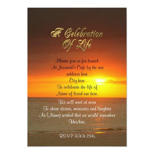 Celebration Of Life Invitation Sunset Zazzle Com