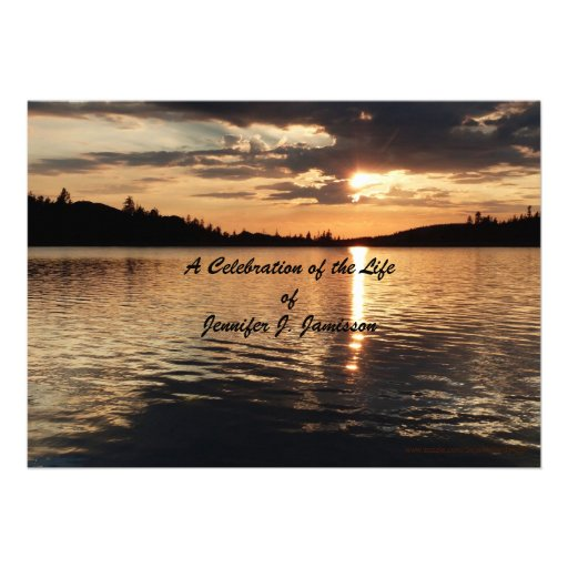 Celebration of Life Invitation, Sunset at Lake Cards