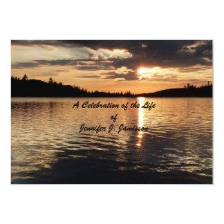 Celebration of Life Invitation, Sunset at Lake 5x7 Paper Invitation Card