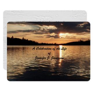 Celebration of Life Invitation, Sunset at Lake Card