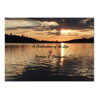Celebration of Life Invitation, Sunset at Lake Card