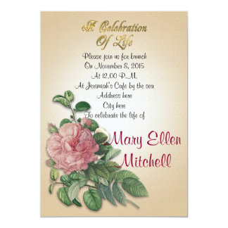 Celebration of life Invitation vintage rose