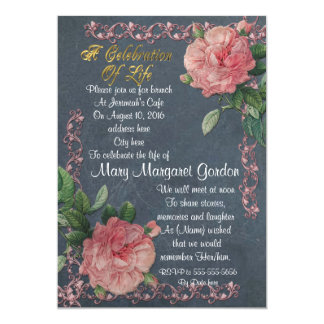 Celebration of life Invitation vintage roses