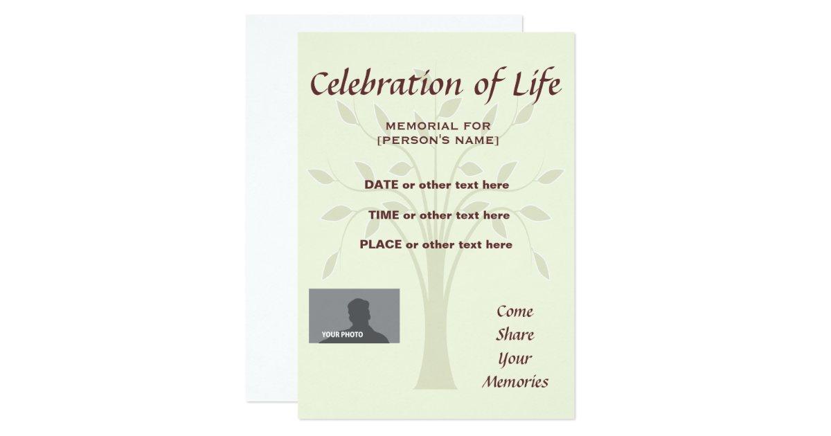 Celebration Of Life Card Custom Design