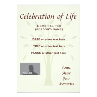 Celebration of Life Memorial 5x7 custom background 5x7 Paper Invitation Card