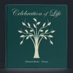 """Celebration of Life Memorial Guest Book 3 Ring Binder<br><div class=""""desc"""">Tree of Life design in light green on dark green Celebration of Life Memorial or Funeral Guest Book binder. Fill with pages for a guest attendance register, or include photos and mementos of your loved ones life for a memory book for guests to view at your memorial service or tribute....</div>"""