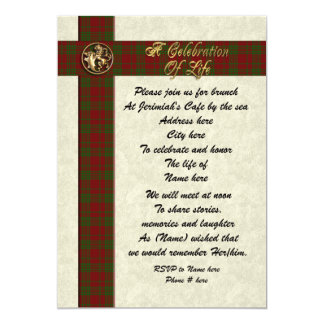"Celebration of life memorial invitation for man 5"" x 7"" invitation card"