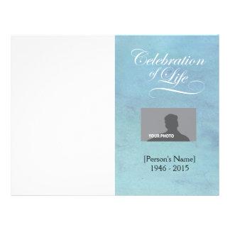 Celebration of Life Memorial Program blue watercol Flyer