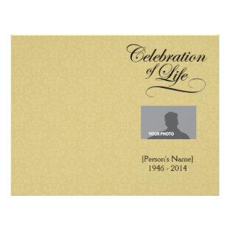 Celebration of Life Memorial Program gold damask Full Color Flyer