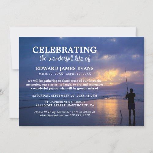 Celebration of Life  Ocean Fisherman Funeral Invitation