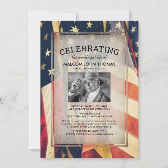 Celebration of Life Patriotic Flag Photo Invitation