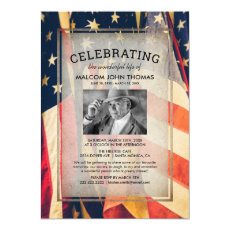 Celebration of Life Patriotic Flag Photo Invitation