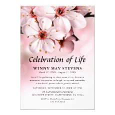 Celebration of Life | Pink Blossom Funeral Invitation