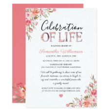 Celebration of Life | Pink Floral Funeral Invitation