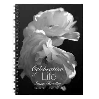Celebration of Life Rose Funeral Guest Book 3 Notebook