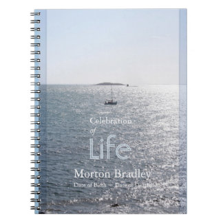 Celebration of Life Seascape 3 Photo Guest Book Spiral Notebook