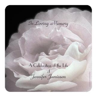 "Celebration of Life Square Invite Pale Pink Rose 5.25"" Square Invitation Card"