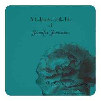 "Celebration of Life Square Invite, Teal Rose 5.25"" Square Invitation Card"