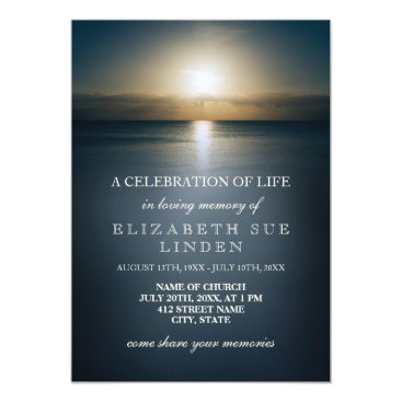 Beach Themed Celebration of Life | Sun Over the Ocean Card