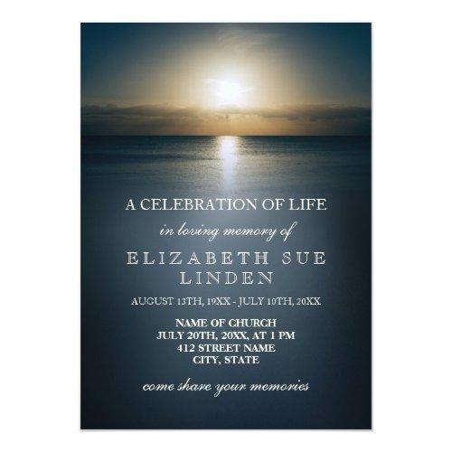 Celebration of Life  Sun Over the Ocean Invitation