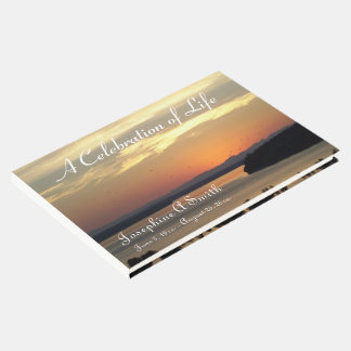 Celebration of Life Sunset Personalized Memorial Guest Book