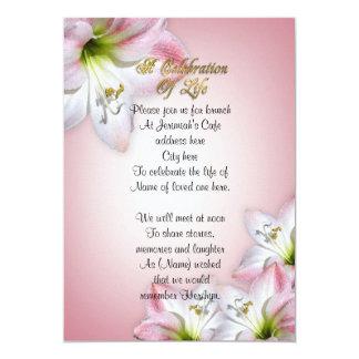 Celebration of life watercolor amaryllis card