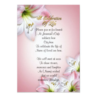Celebration of life watercolor amaryllis personalized announcements