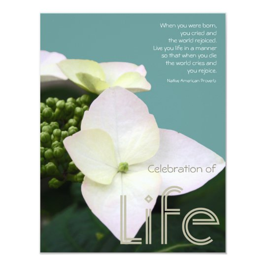 Celebration Of Life With Inspirational Quote 1 Invitation