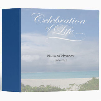 Celebration of Life with Ocean Scene Guest Book Binder