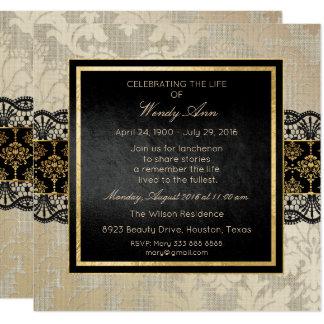 Celebration of Live Live Damask Silver Gold Lace Card