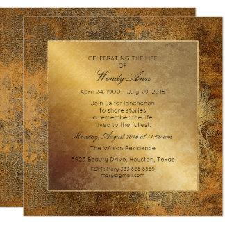 Celebration of Live Live Grungy Gold Floral Card