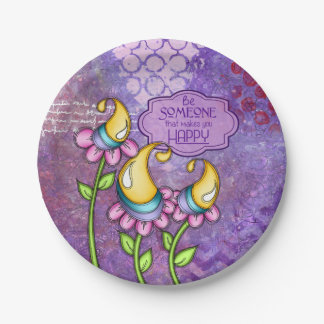 Celebration Positive Thought Doodle Flower Plate